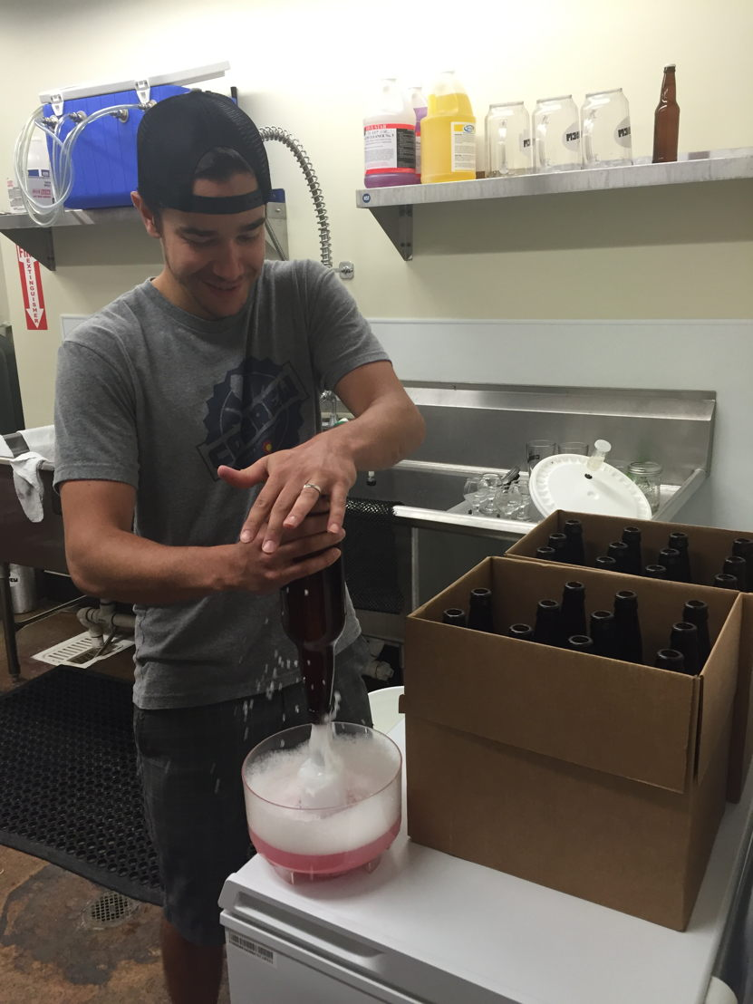 Bottles are sanitized before being filled