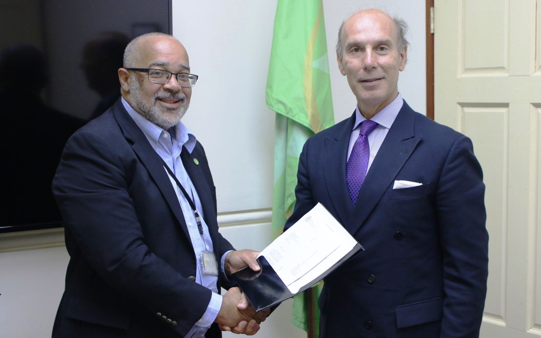 Ambassador of the Kingdom of Spain, H.E. Javier Carbajosa, presents credentials to OECS Director General, Dr. Didacus Jules.