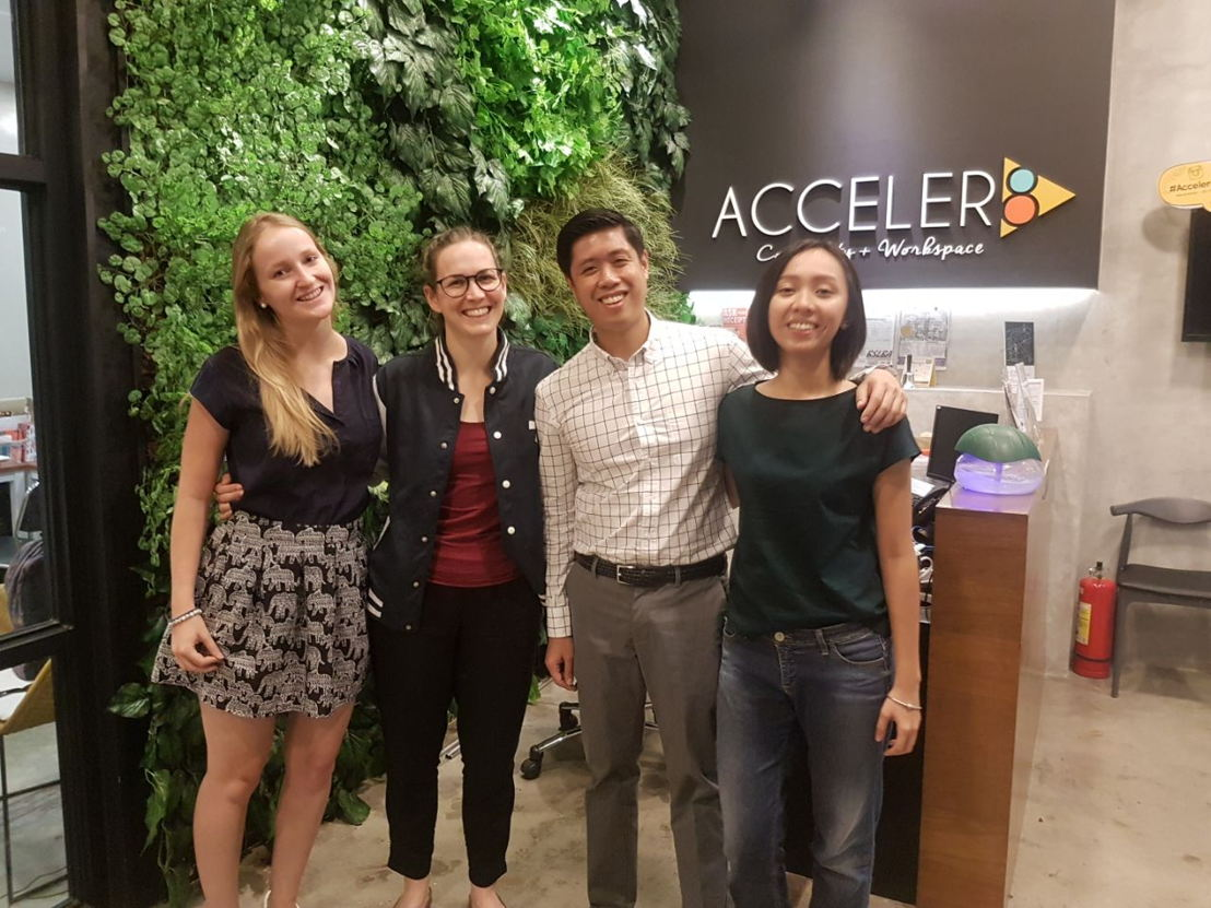 Rosie Keller and Adriana Collini from Seedstars and Mikko Barranda and Bianca Cruz from Acceler8