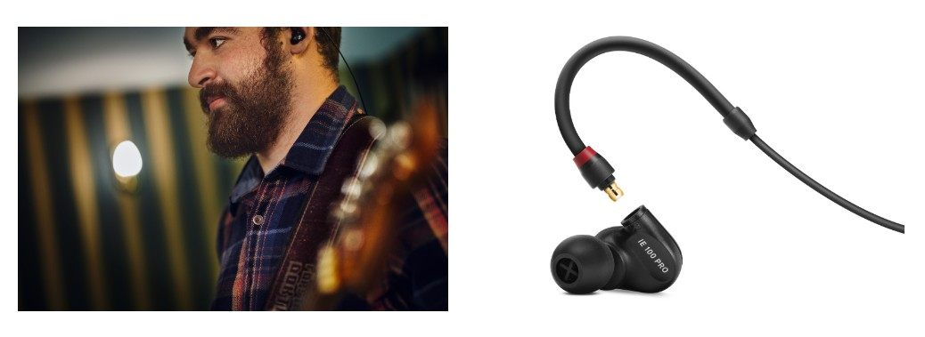 The IE 100 PRO features a low-profile mould and a reinforced ear-hook