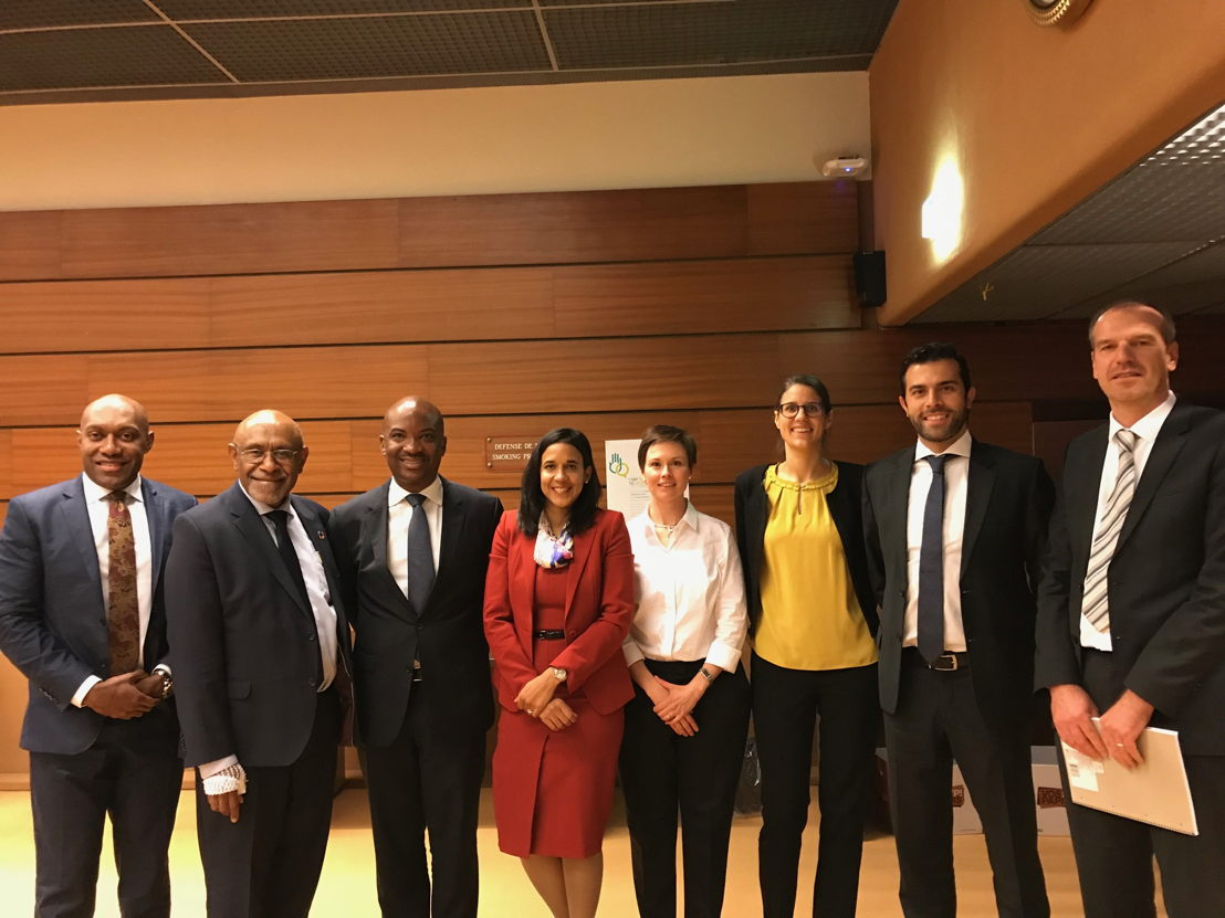 Head of the OECS Geneva Mission Stephen Fevrier at the introduction of the 1st AI powered-platform for trade negotiations, Cognitive Trade Advisor, in Geneva (4th participant starting from the right side of the photo)