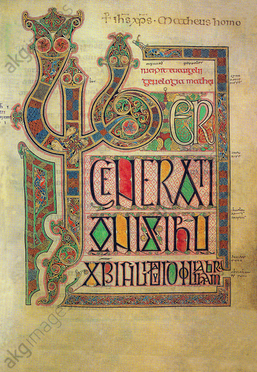 Lindisfarne Gospels<br/>Illuminated manuscript, England. 710–721 by by Eadfrith, Bishop of Lindisfarne and Aldred the Glossator.<br/>Incipit page of St Matthew's Gospel. Text with marginal decoration.<br/>AKG3824905