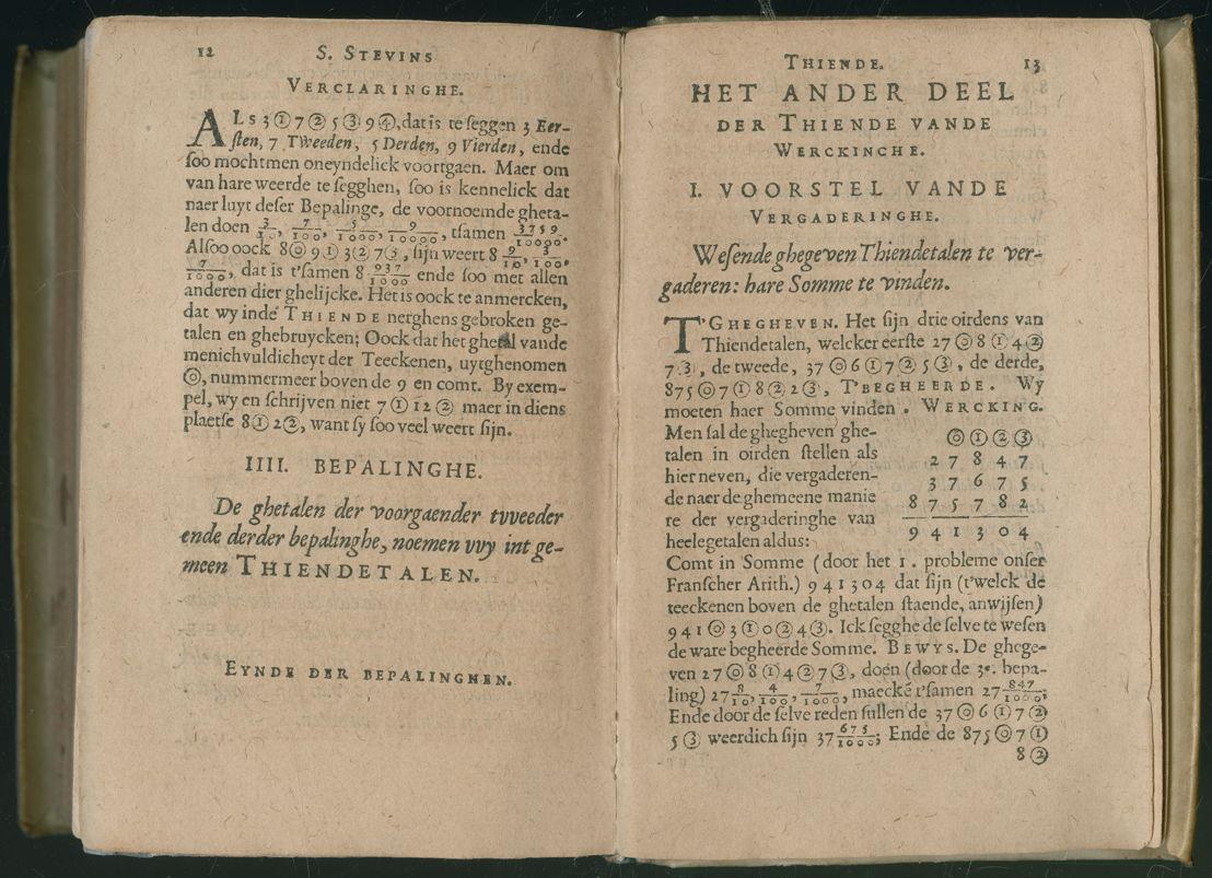 Simon Stevin: Het decimaal stelsel<br/>Simon Stevin, De thiende, Leiden, C. Plantin, 1585 (c) Plantin-Moretusmuseum