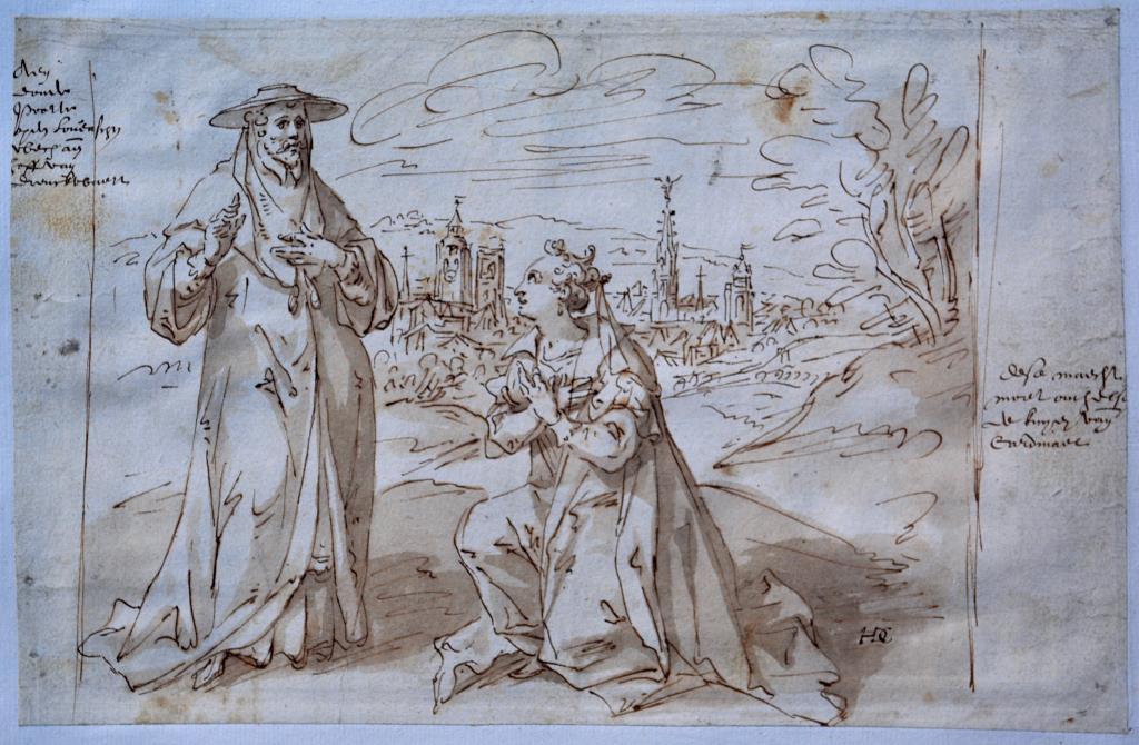 Hendrick De Clerck, Bruxella knielt voor aartshertog Albrecht © Kunstsammlungen der Fürsten zu Waldburg Wolfegg