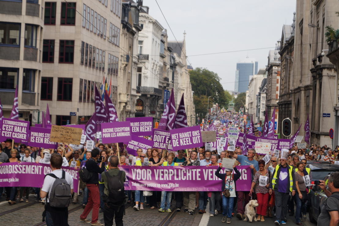 September 2014: grote betoging tegen onverdoofd slachten in Brussel
