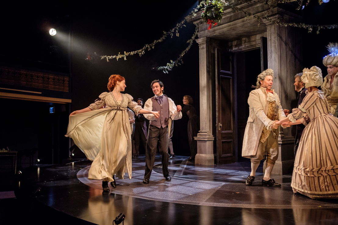 The Fezziwig Dance featuring Amanda Lisman (Belle), Conor Wylie (Young Ebenezer), Brian Linds (Mr. Fezziwig), and Jan Wood (Mrs. Fezziwig) in A Christmas Carol / Photos by Don Craig