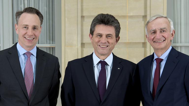 Thomas Buberl, Henri de Castries et Denis Duverne