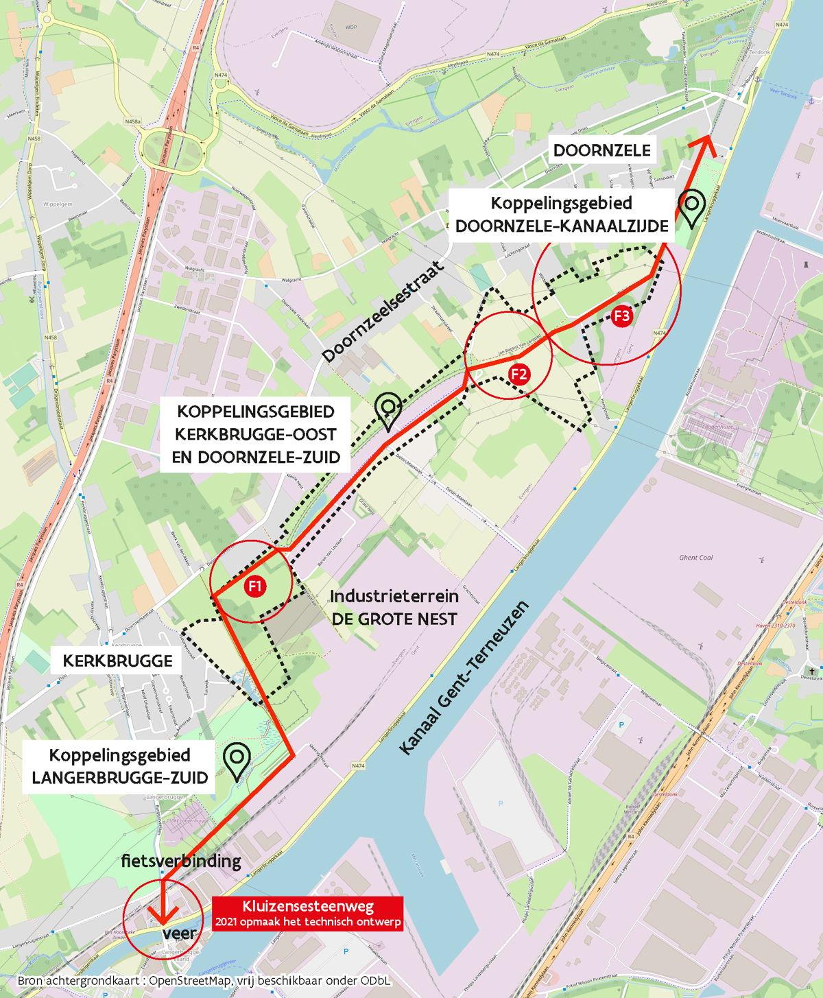 Situeringskaart koppelingsgebieden - fietsverbinding