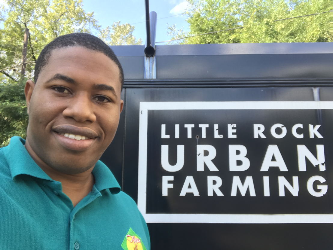 Johanan Dujon at host business Little Rock Urban Farming in Arkansas.