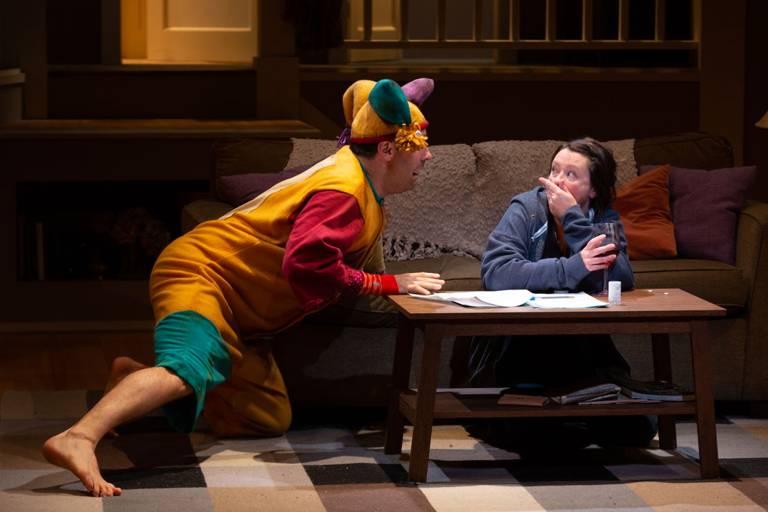 Andrew McNee (Mustard), and Jenny Wasko-Paterson (Sadie) in Mustard by Kat Sandler / Photos by Mark Halliday<br/><br/>October 30 – November 25, 2018<br/>&lt;a href=&quot;https://www.belfry.bc.ca/mustard/&quot; rel=&quot;nofollow&quot;&gt;www.belfry.bc.ca/mustard/&lt;/a&gt;<br/>Belfry Theatre, 1291 Gladstone Avenue, Victoria, British Columbia, Canada<br/><br/>A co-production with the Arts Club Theatre, Vancouver<br/><br/>Creative Team<br/>Kat Sandler - Playwright<br/>Stephen Drover - Director<br/>Kevin McAllister - Set Designer<br/>Carmen Alatorre - Costume Designer<br/>Alan Brodie - Lighting Designer<br/>Brian Linds - Sound Designer<br/>Jan Hodgson - Stage Manager<br/>Jennifer Swan - Assistant Stage Manager<br/>Ranleigh Starling - Assistant Lighting Designer
