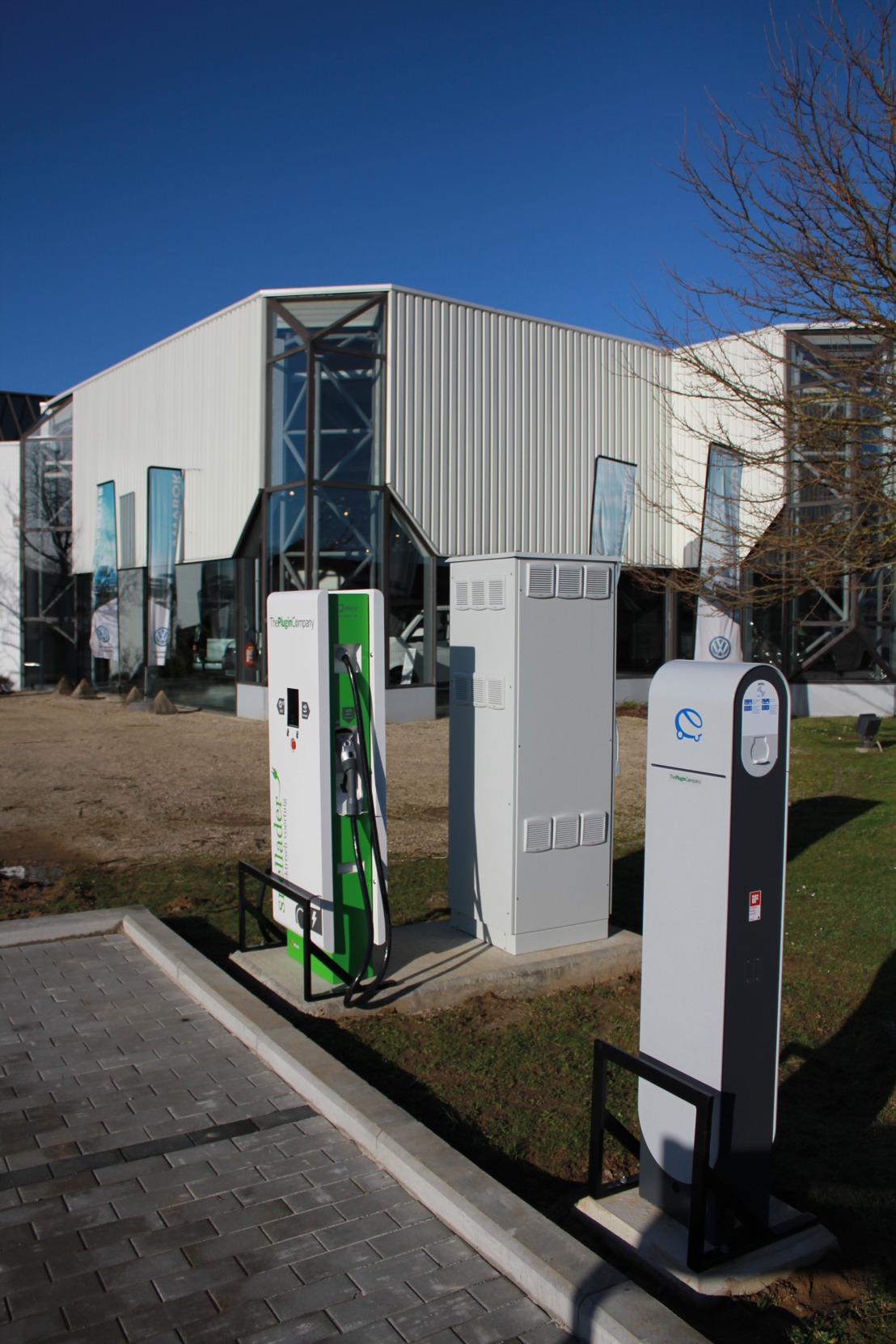 Publiek snellaadpunt aan het Volkswagen Contact Center