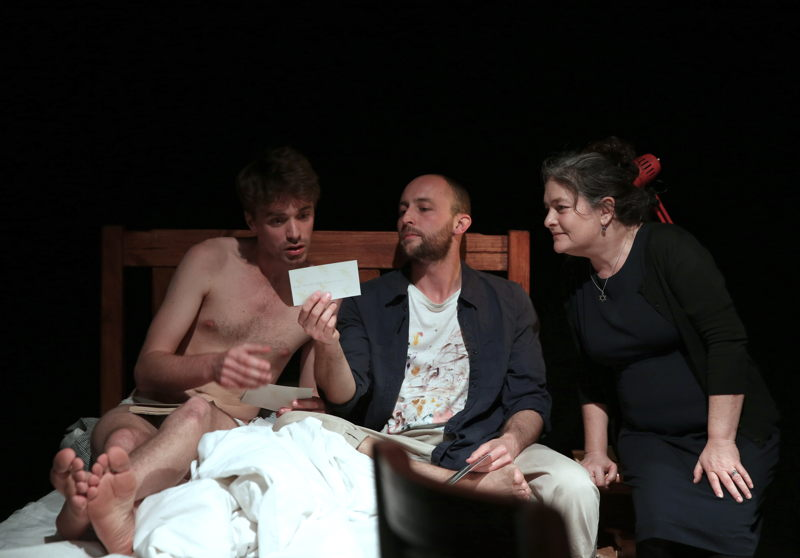 David Viviers won Fresh Performer for his role in The Finkelsteins are Coming to Dinner pictured with Andrew Laubscher and Megan Furniss - credit Nardus Engelbrecht Cape Town Fringe 2016