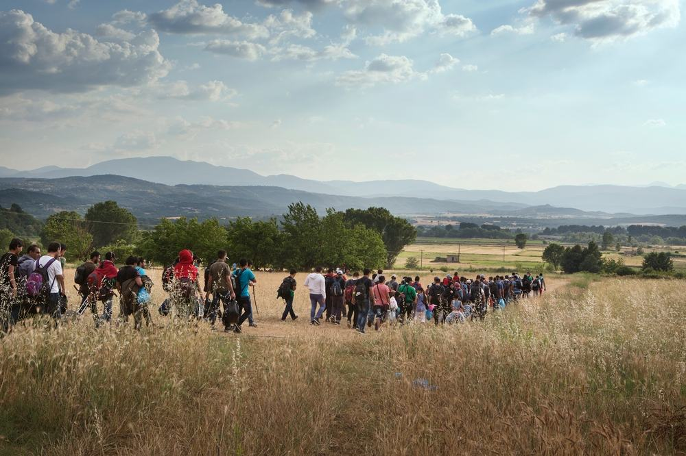System identifier<br/>: MSF148249<br/>Title<br/>: Idomeni migration route, Greece<br/>Photographer / cameraman<br/>: Alessandro Penso<br/>Countries:<br/>GreecDescription:A group of around 150 Syrians set off to cross the Greek border with the Former Yugoslav Republic of Macedonia (FYROM), with the hope of being able to apply for refugee status in countries such as Germany or Sweden. The Greek border with the FYROM is increasingly under the control of people-smugglers, and is becoming less safe each day, so migrants try to cross the border in large groups so they can defend themselves.