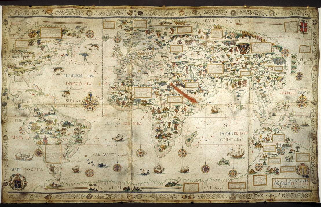 Op zoek naar Utopia © Pierre Desceliers, Mappamundi (Wereldkaart), 1550. British Library, Londen