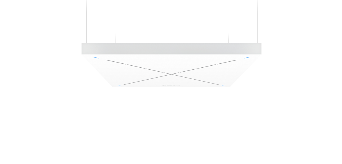 Sennheiser's TeamConnect Ceiling 2, on active display at InfoComm 2019, is a conferencing solution that employs automatic, adaptive beamforming technology