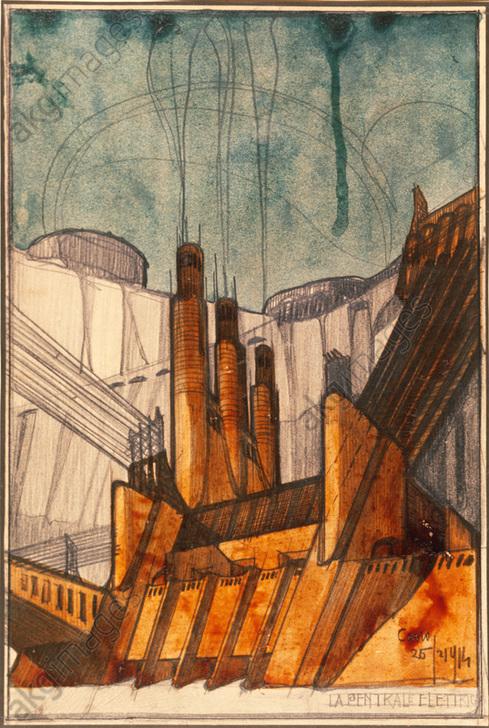 """Sant'Elia, Antonio,  """"Power Station"""", 1914.<br/>Drawing.<br/>AKG335080"""