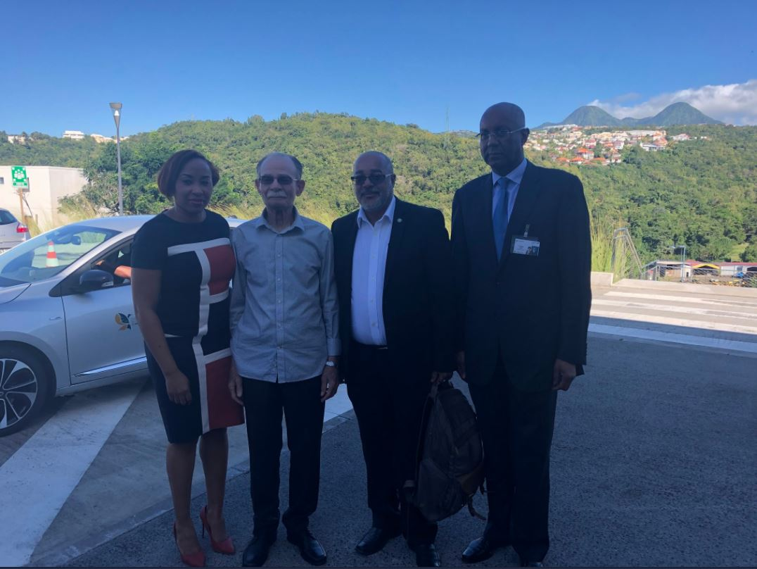 Nadege Jean-Baptiste, Program officer at the OECS Commission,  the President of the Collectivity of Martinique Alfred Marie-Jeanne, the Director General of the OECS Commission Dr. Didacus Jules and the President of the Chamber of Commerce of Martinique Philippe Jock. ©Collectivity of Martinique. ©Collectivity of Martinique.