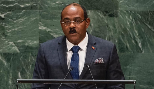 OECS Chairman The Hon. Gaston Browne, Prime Minister of Antigua and Barbuda, addresses the general debate of the 74th Session of the UN General Assembly