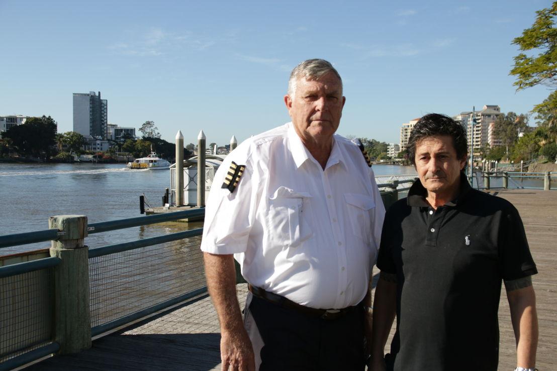 Australian Story rescuers former ferry captain John Barnett with former deckhand Stuss Read