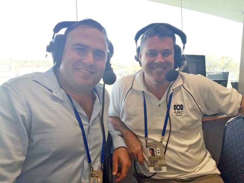 Four-time Ross Glendinning Medal winner Paul Hasleby in the Grandstand commentary booth with the ABC's Clint Wheeldon.