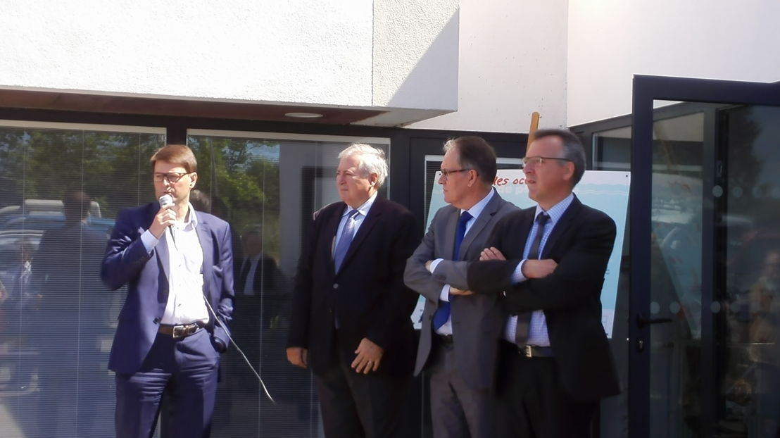 From left to right: Alexandre Dangis (Co-founder of Waste Free Oceans), Pierre Lambret (Prefect of Côtes d'Armor), Alain Cadec (MEP and Chairman of the Côtes d'Armor Council), Thierry Burlot (Chairman of Kerval Centre Armor)