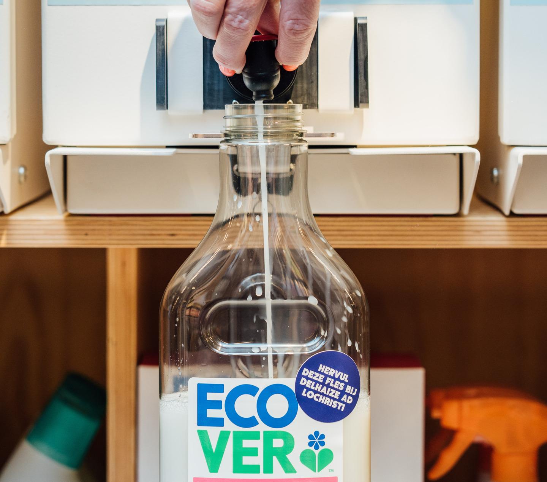 Test de nouvelles stations de remplissage Ecover dans deux magasins Delhaize