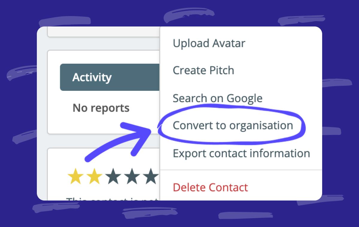 Help: Converting contacts from Person to Organization