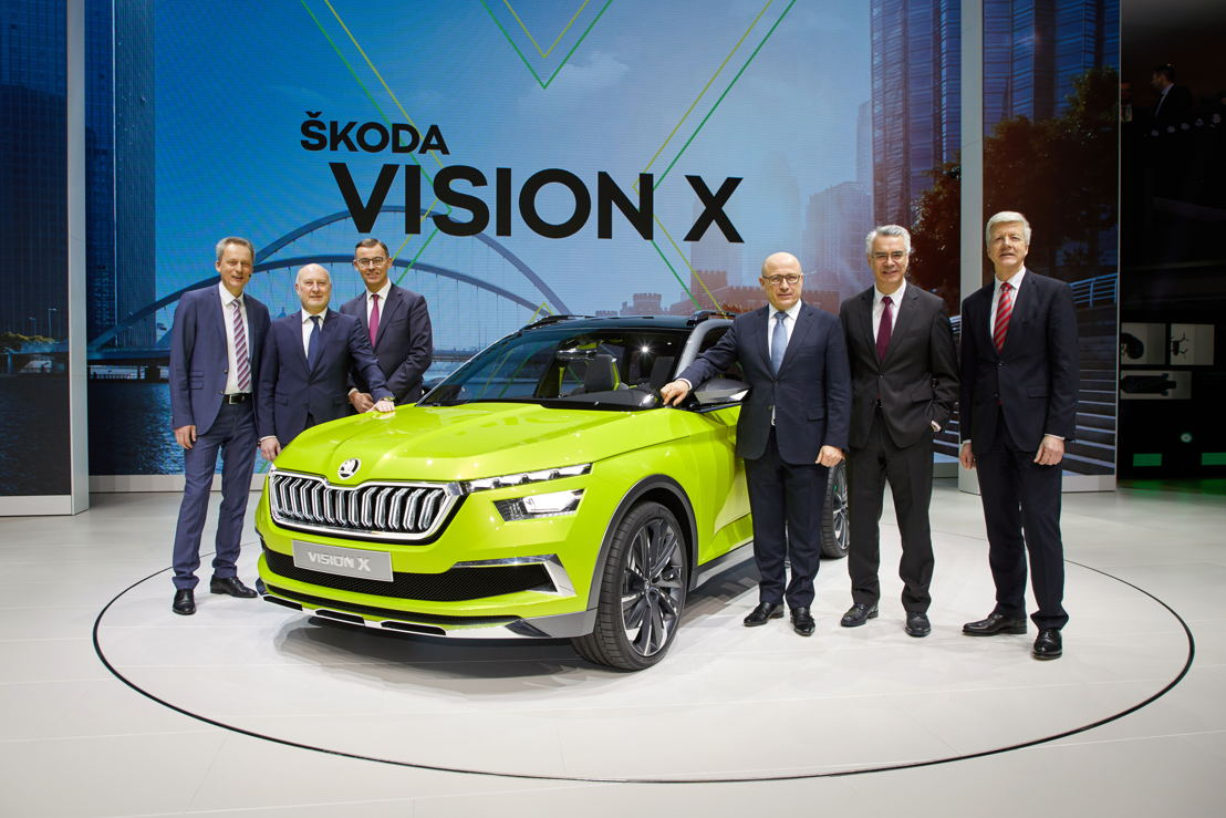ŠKODA AUTO Board of Management at the press conference in Geneva on 6 March 2018.