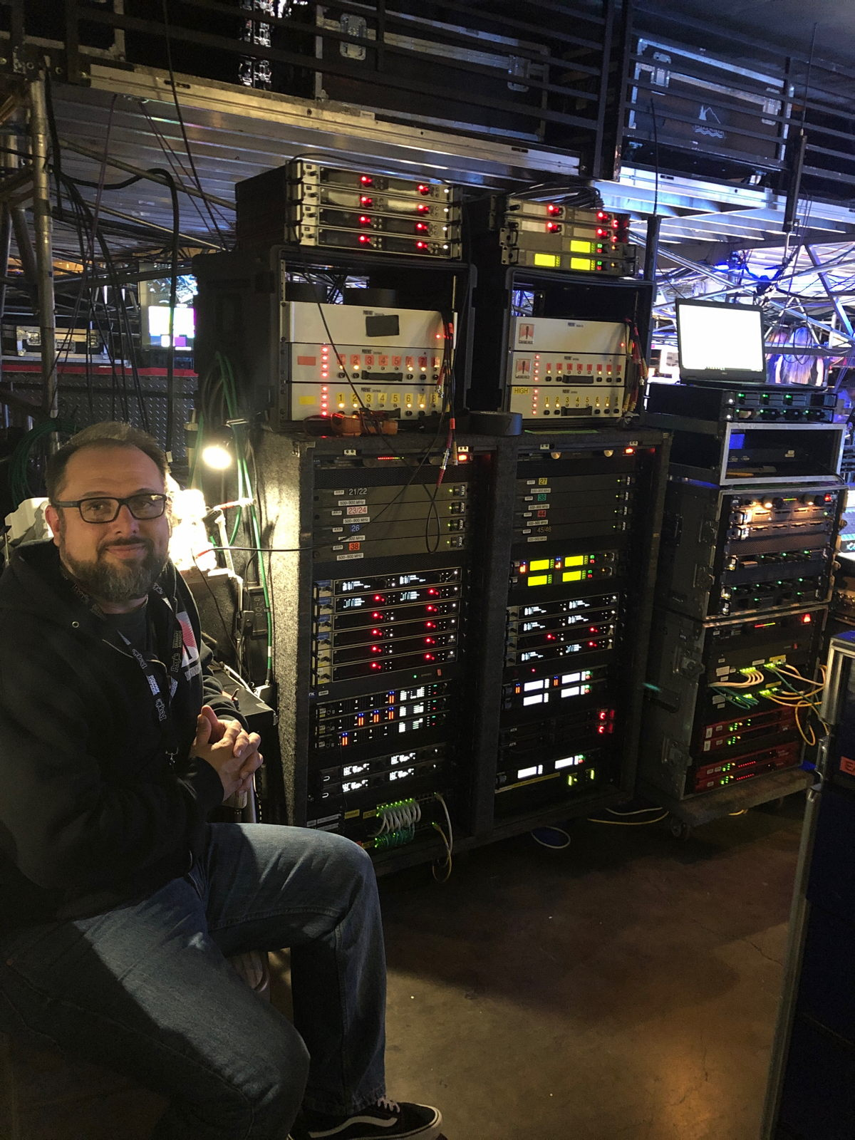 Stephen Vaughn, Coordinator for Soundtronics Wireless, ensured that all the wireless microphones and in-ear monitors worked in harmony for the duration of the GRAMMY Awards