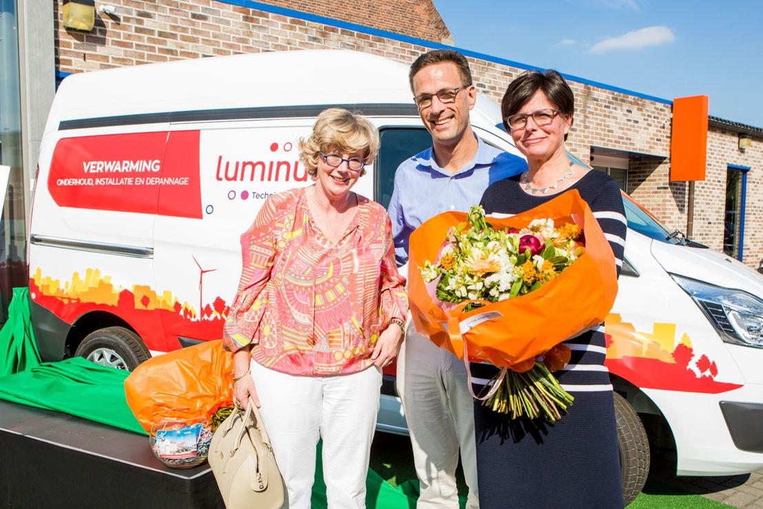 Veerle Heeren, burgemeester Sint-Truiden<br/>Grégoire Dallemagne, CEO EDF Luminus<br/>Nicole Stassen, Algemeen Directeur Leenen Luminus