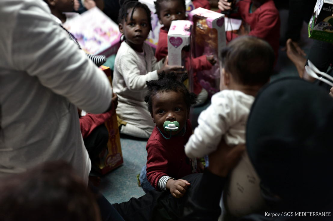 Children rescued in Mediterranean and now safe onboard Aquarius were pleased to receive toys yesterday. Photographer: Kenny Karpov