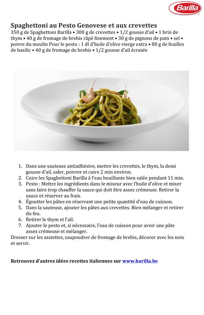 Recette Spaghettoni au Pesto Genovese et aux crevettes