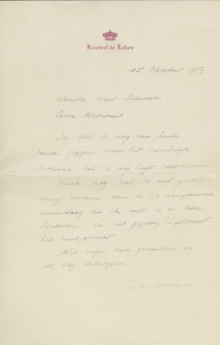 Bedankingsbrief van koning Boudewijn, 15 oktober 1959
