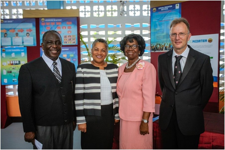 Pictured from L-R are: His Lordship the Hon. Justice K. Neville Adderley (High Court Judge (Ag), TVI Commercial Division), Her Ladyship the Hon. Dame Janice M. Pereira DBE, Chief Justice, Her Excellency Dame Calliopa Pearlette Louisy, Governor General of Saint Lucia and His Lordship the Hon. Justice Gerard Wallbank, (High Court Judge (Ag), TVI Commercial Division).