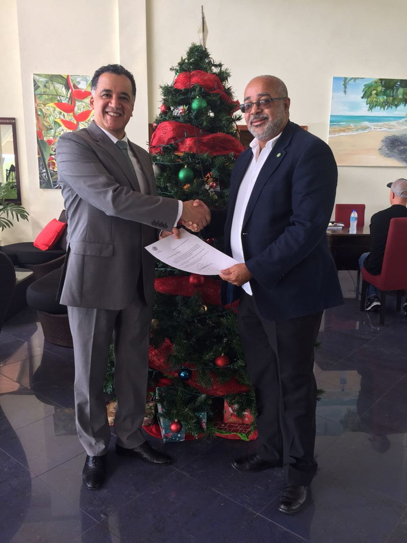 Ambassador of Mexico to the Organisation of Eastern Caribbean States (OECS) His Excellency Oscar Esparza-Vargas, presented his credentials to the Director General of the OECS, Dr. Didacus Jules