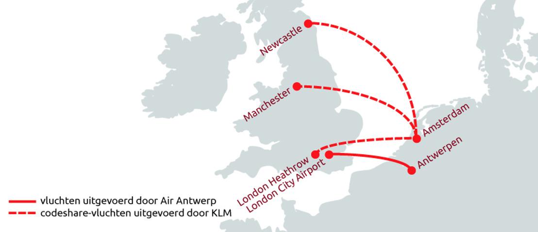 Air Antwerp en KLM sluiten codeshare-overeenkomst op routes tussen Amsterdam en het Verenigd Koninkrijk
