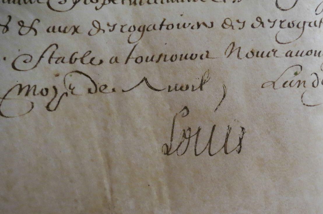 Originele handtekening van de 9-jarige Lodewijk XIV