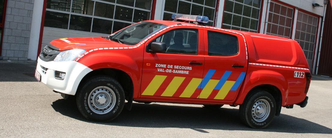Les pompiers de Sambreville incluent un D-Max comme véhicule d'intervention à leur flotte.