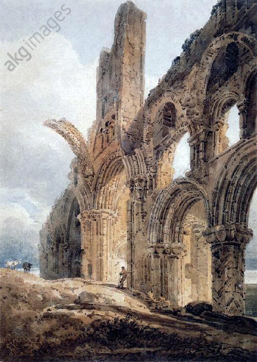 England / UK: The ruins of Lindisfarne Priory, by Thomas Girtin (1775-1802), 1798<br/>AKG3824930