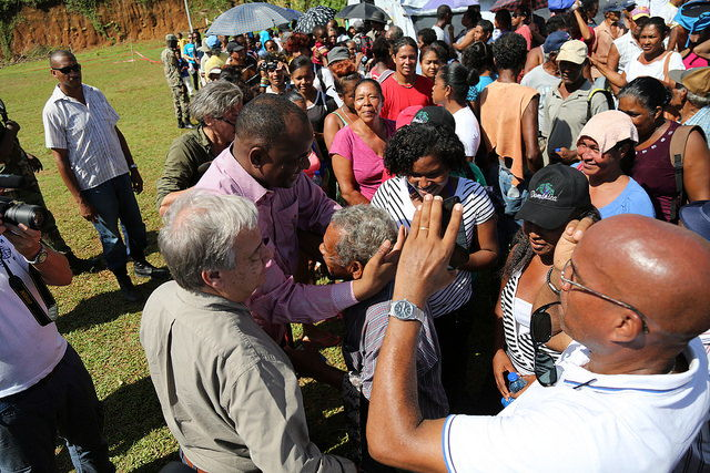 UN Secretary-General and Prime Minister of Dominica greet residents of the Kalinago Territory.