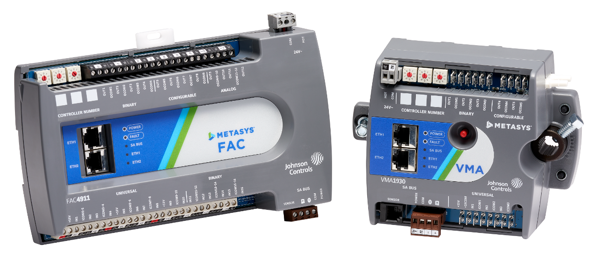 Metasys® FAC en VMA Field Equipment Controllers die communiceren via BACnet IP.