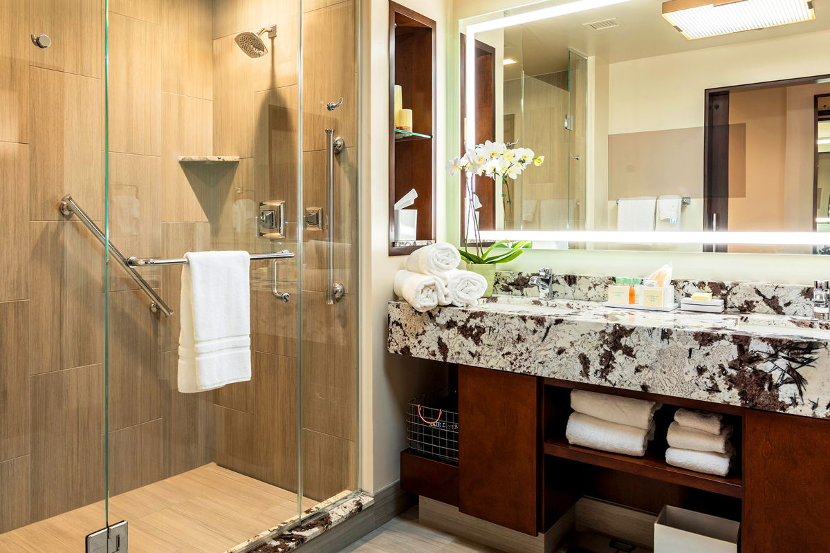 One of the beautifully-appointed, spa-like bathrooms in Monarch Casino Resort Spa