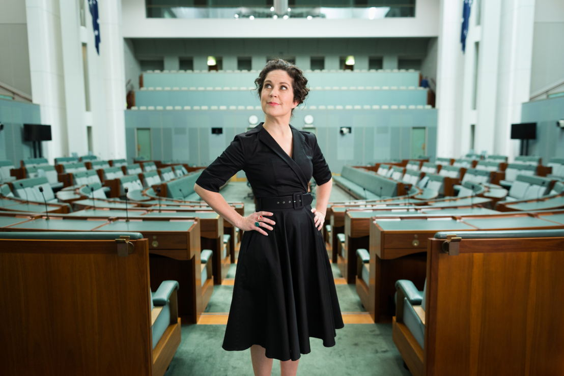 Annabel Crabb inside the House of Representatives. Photo by Josh Flavell.