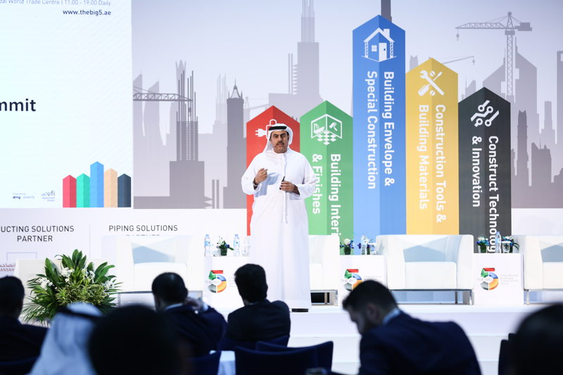 H.E. Dr. Ahmad Bin Hassan Al Shaikh, Chairman of Ducab HV, speaking at the Excellence in Construction Summit