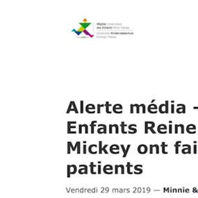 Alerte média - Hôpital des Enfants Reine Fabiola   Minnie   Mickey ont fait une surprise aux patients
