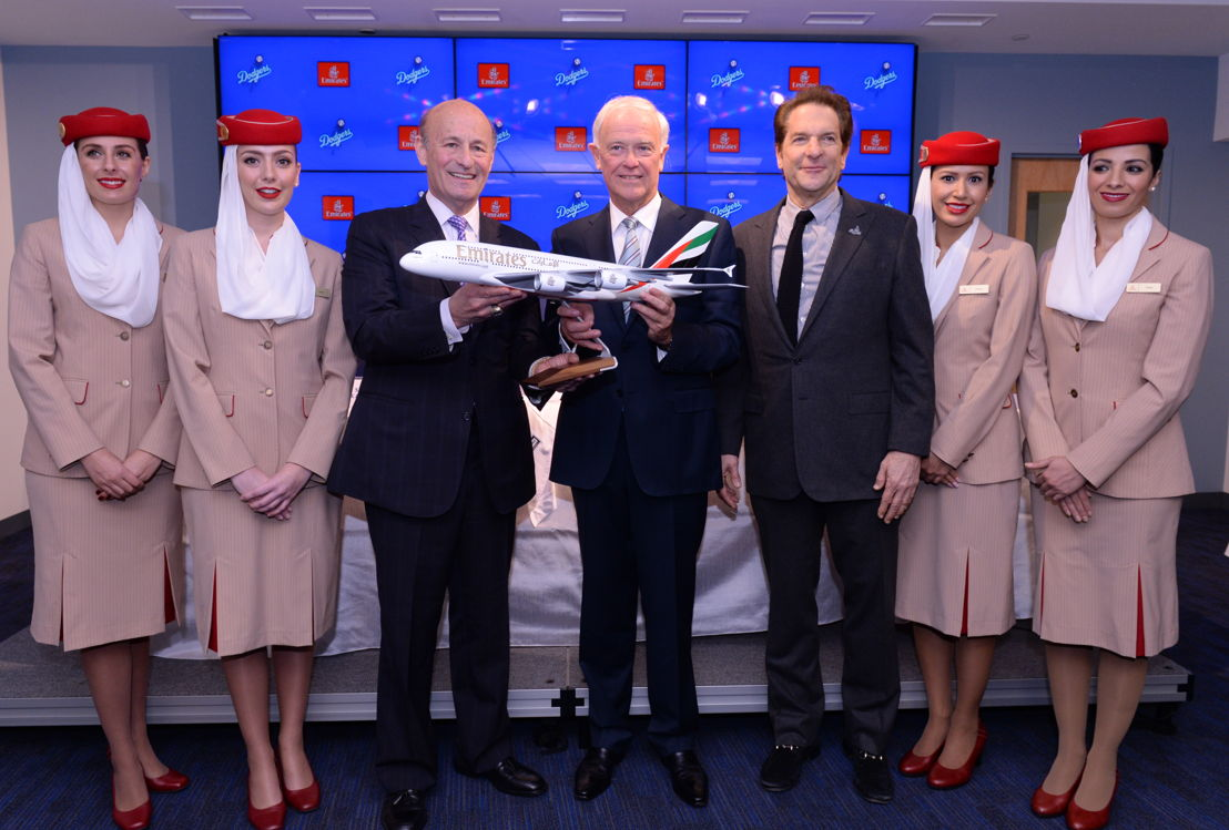 Emirates and LA Dodgers Press Conference - Gift Exchange Model Aircraft. From left to right: Emirates Cabin Crew; Stan Kasten, Sir Tim Clark,  Peter Guber; Emirates Cabin Crew.