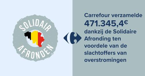 Carrefour verzamelde €471.345,4 dankzij de Solidaire Afronding ten voordele van de slachtoffers van overstromingen