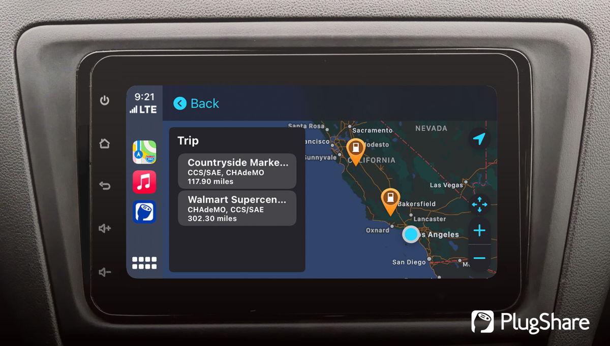 PlugShare trip routing screen on Apple CarPlay