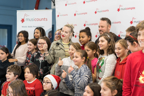 Platinum Selling Recording Artist Marie Mai Joins MusiCounts To Celebrate Music Education At Longueuil School