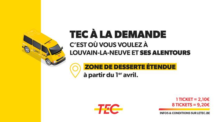 Le service TEC à la demande s'étend !